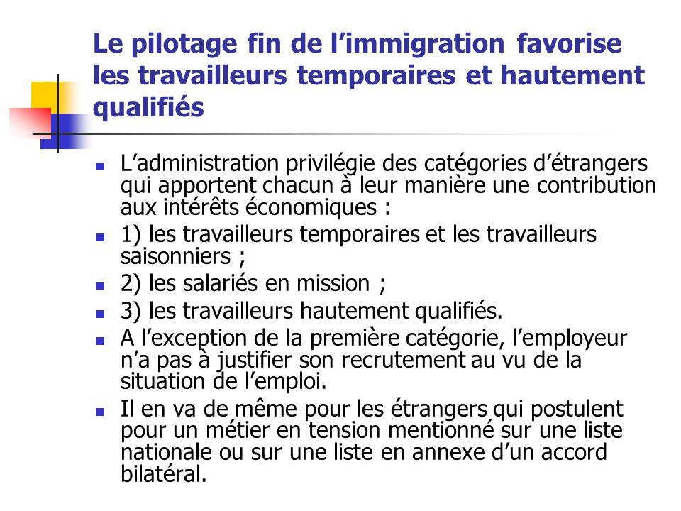 Le pilotage fin de limmigration favorise les travailleurs temporaires et hautement qualifiés Ladministration privilégie des catégories détrangers qui