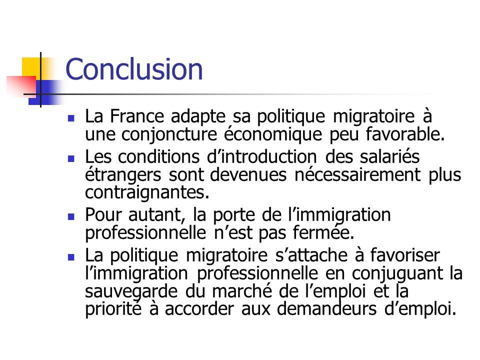 Conclusion La France adapte sa politique migratoire à une conjoncture économique peu favorable. Les conditions dintroduction des salariés étrangers so