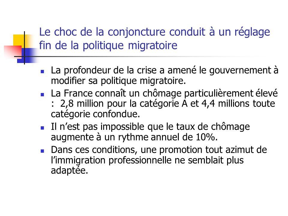 Une politique restrictive mais qui ne ferme pas la porte à limmigration professionnelle Dans un contexte de crise, la priorité est accordée aux travailleurs déjà résidant en France.
