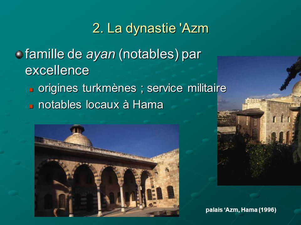 2. La dynastie 'Azm famille de ayan (notables) par excellence origines turkmènes ; service militaire origines turkmènes ; service militaire notables l