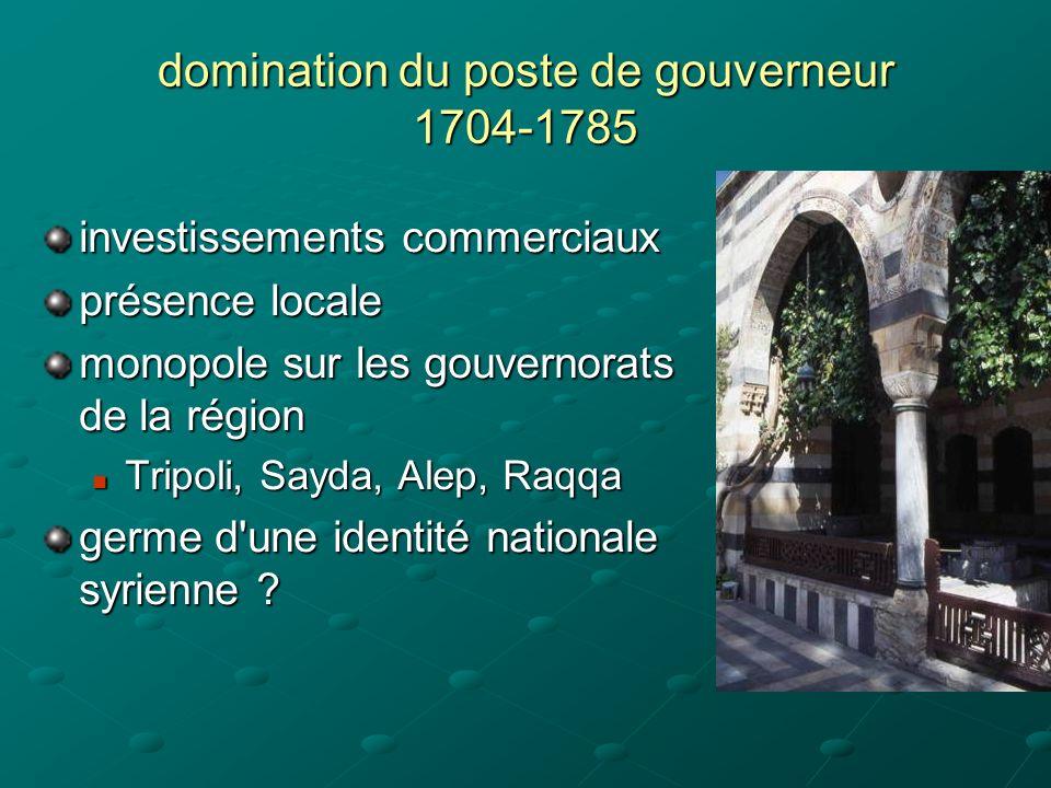 domination du poste de gouverneur 1704-1785 investissements commerciaux présence locale monopole sur les gouvernorats de la région Tripoli, Sayda, Alep, Raqqa Tripoli, Sayda, Alep, Raqqa germe d une identité nationale syrienne ?