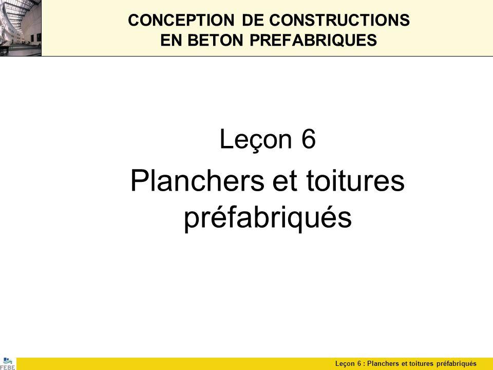 Leçon 6 : Planchers et toitures préfabriqués CONCEPTION DE CONSTRUCTIONS EN BETON PREFABRIQUES Leçon 6 Planchers et toitures préfabriqués