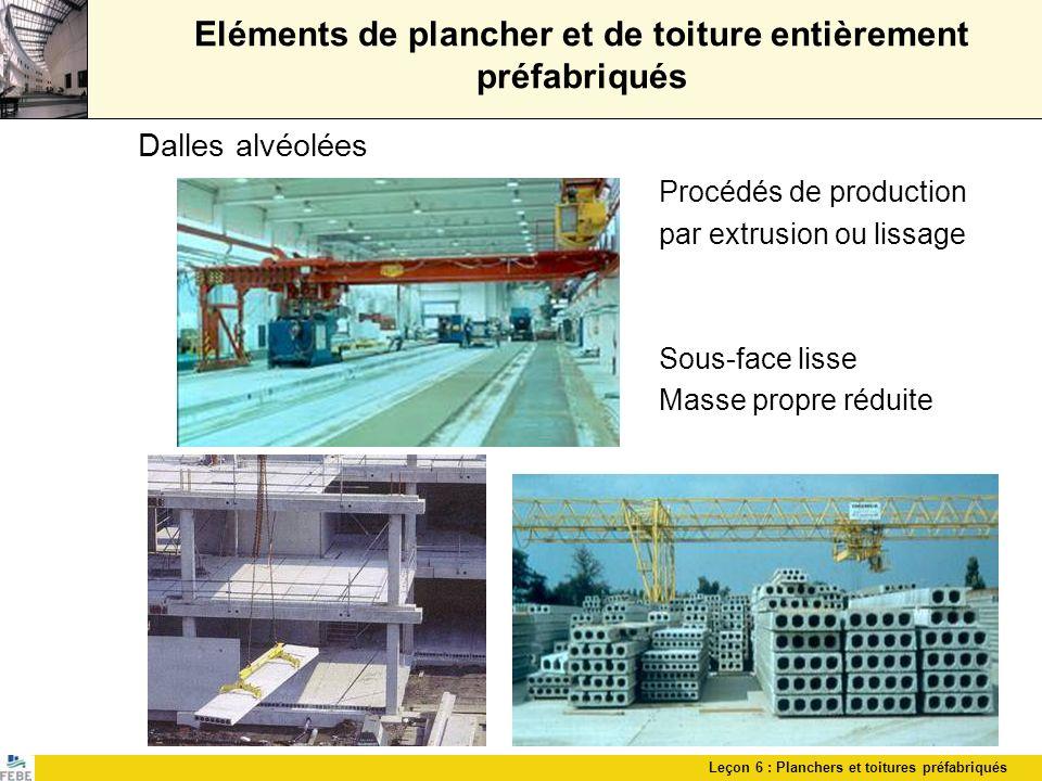 Leçon 6 : Planchers et toitures préfabriqués Eléments de plancher et de toiture entièrement préfabriqués Dalles alvéolées Procédés de production par e