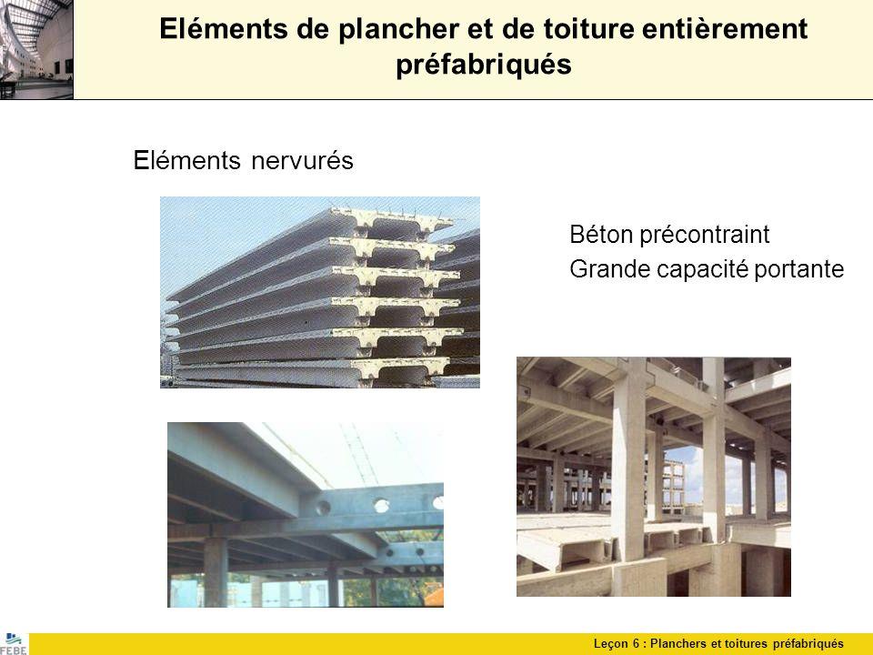 Leçon 6 : Planchers et toitures préfabriqués Eléments de plancher et de toiture entièrement préfabriqués Eléments nervurés Béton précontraint Grande c