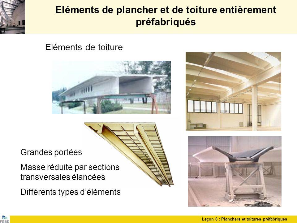 Leçon 6 : Planchers et toitures préfabriqués Eléments de plancher et de toiture entièrement préfabriqués Eléments de toiture Grandes portées Masse réd
