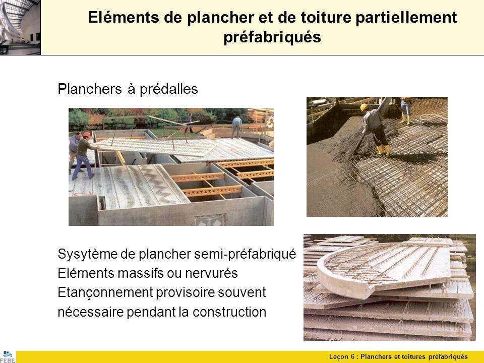 Leçon 6 : Planchers et toitures préfabriqués Eléments de plancher et de toiture partiellement préfabriqués Planchers à prédalles Sysytème de plancher