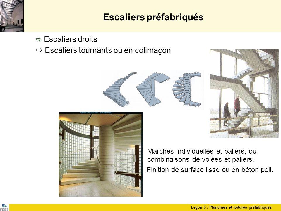 Leçon 6 : Planchers et toitures préfabriqués Escaliers préfabriqués Escaliers droits Escaliers tournants ou en colimaçon Marches individuelles et pali
