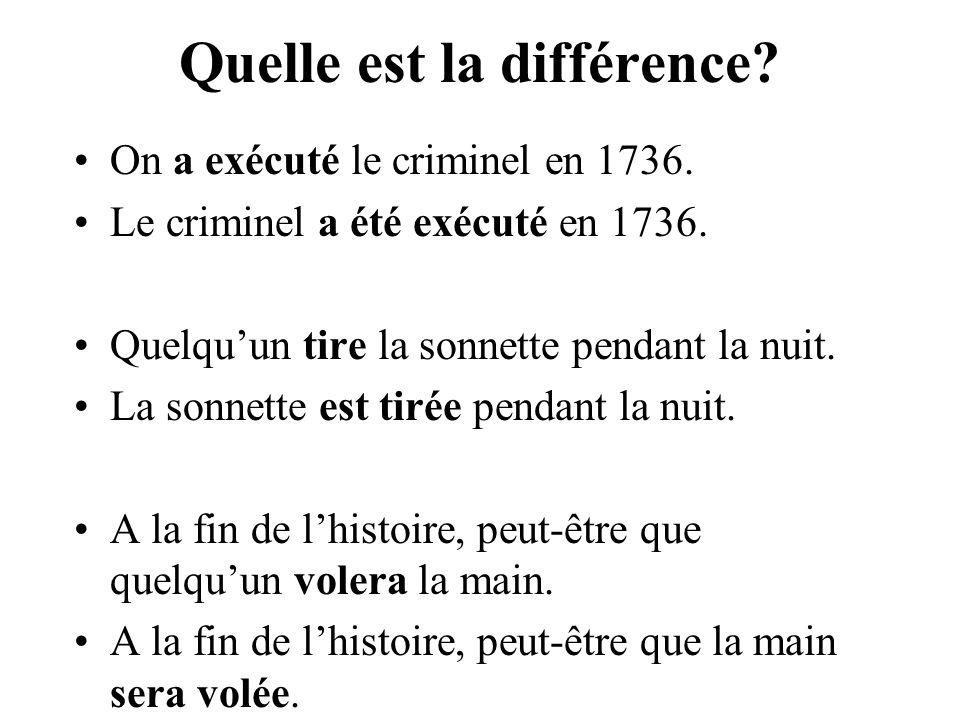 Quelle est la différence.On a exécuté le criminel en 1736.