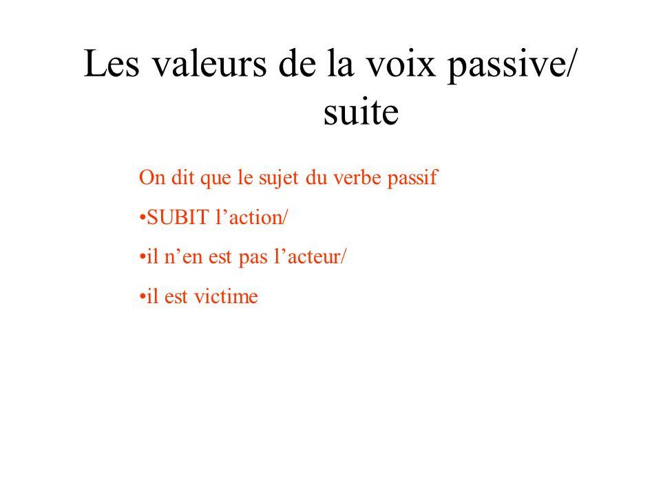 Les valeurs de la voix passive/ suite On dit que le sujet du verbe passif SUBIT laction/ il nen est pas lacteur/ il est victime