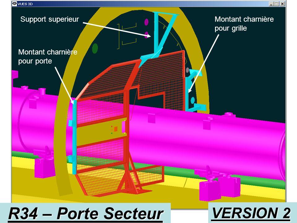 R34 – Porte Secteur VERSION 2 Fixation sur voute Fixation montant Fixation grille sur Montant
