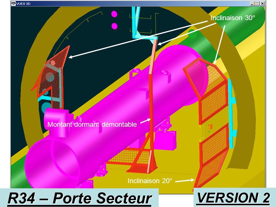 R34 – Porte Secteur VERSION 2 Inclinaison 30° Inclinaison 20° Montant dormant démontable