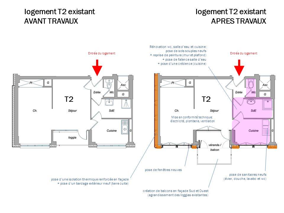 Plan travaux T2 logement T2 existant AVANT TRAVAUX Rénovation wc, salle deau et cuisine: pose de sols souples neufs + reprise de peinture (mur et plaf