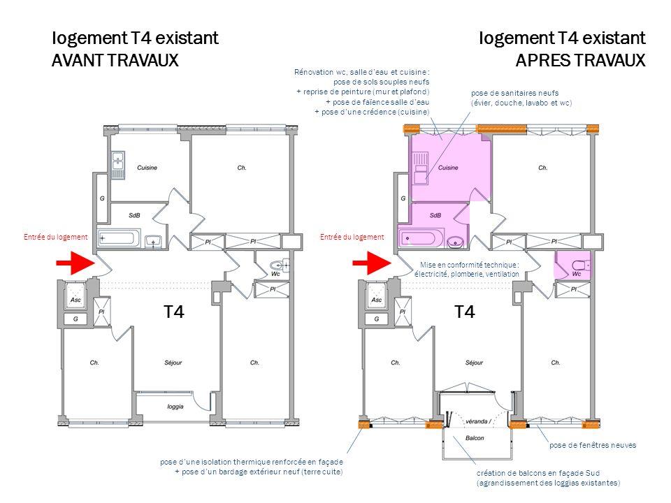 Plan travaux T4 logement T4 existant AVANT TRAVAUX Rénovation wc, salle deau et cuisine : pose de sols souples neufs + reprise de peinture (mur et pla