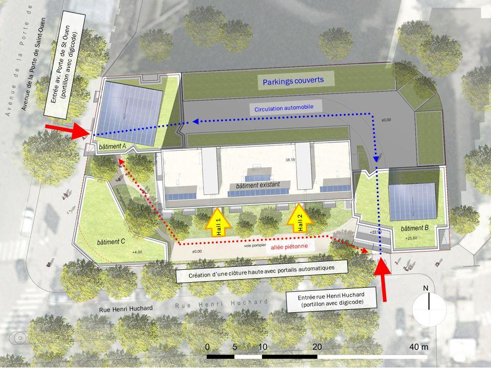 Plan Masse : accès depuis rues Entrée rue Henri Huchard (portillon avec digicode) Parkings couverts Hall 1 Avenue de la Porte de Saint-Ouen Rue Henri Huchard Entrée av.