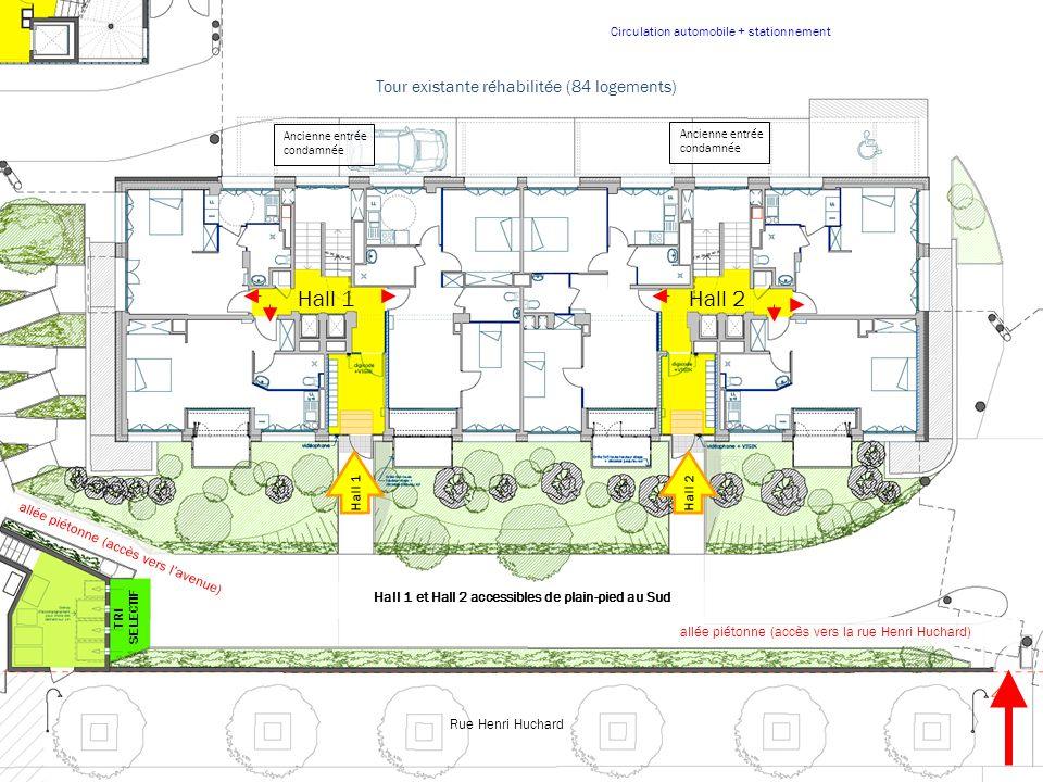 T4 T2 T4 T5 T3 T2 Plan densemble des logements existants et des logements neufs Etage courant Tour existante réhabilitée (84 logements) Bâtiment neuf A (13 logements) Bâtiment neuf B (23 logements) Bâtiment neuf C (commerces) Vues directes sans vis à vis Avenue de la Porte de Saint-Ouen Rue Henri Huchard Plan général étage type