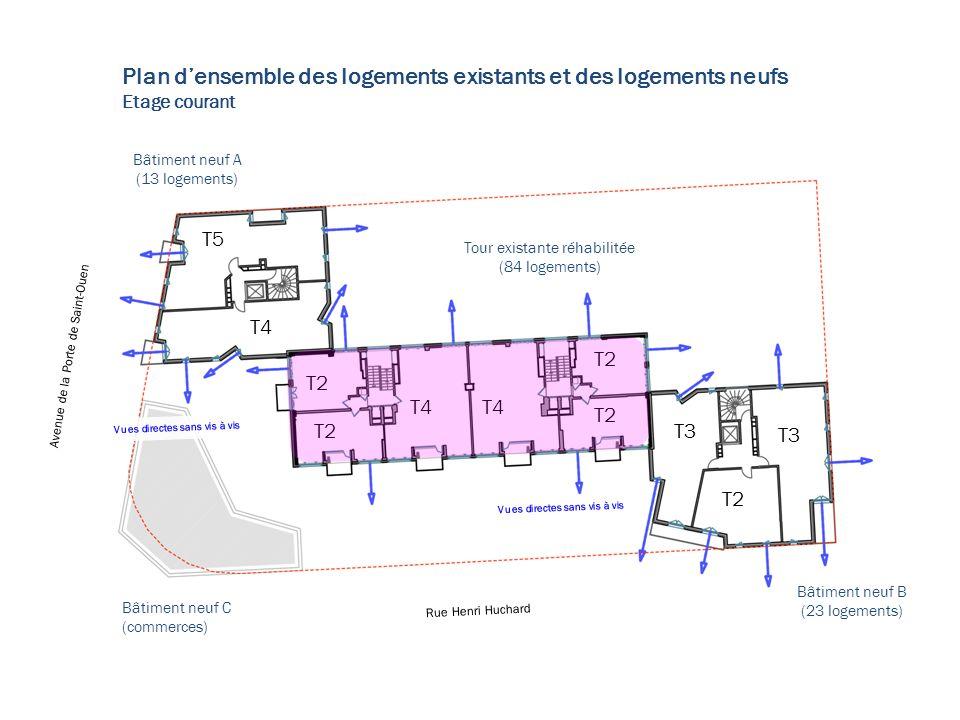 T4 T2 T4 T5 T3 T2 Plan densemble des logements existants et des logements neufs Etage courant Tour existante réhabilitée (84 logements) Bâtiment neuf