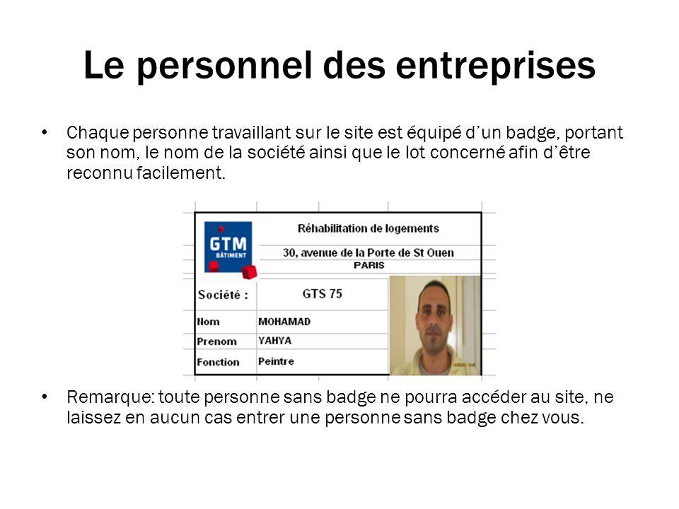 Le personnel des entreprises Chaque personne travaillant sur le site est équipé dun badge, portant son nom, le nom de la société ainsi que le lot concerné afin dêtre reconnu facilement.