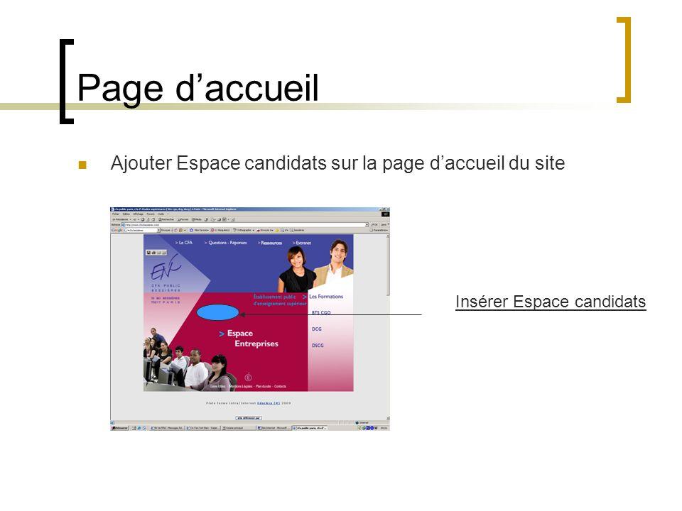 Page daccueil Ajouter Espace candidats sur la page daccueil du site Insérer Espace candidats