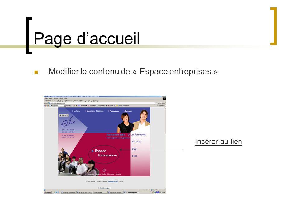 Page daccueil Modifier le contenu de « Espace entreprises » Insérer au lien