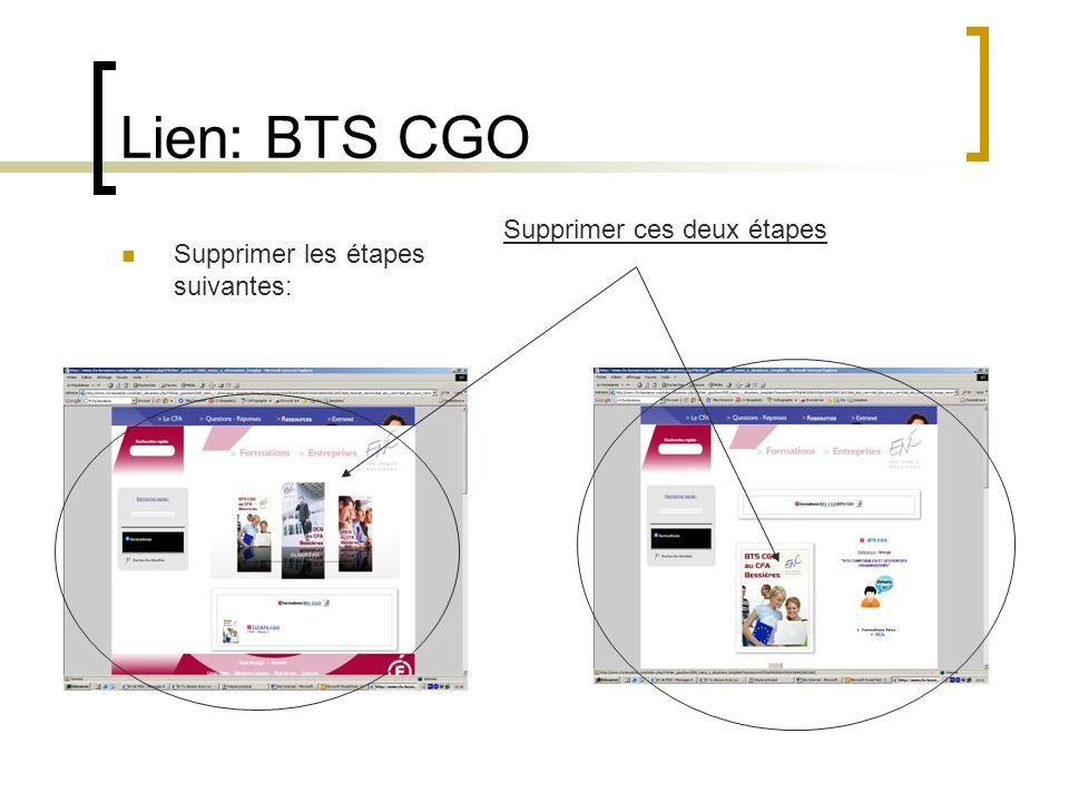 Lien: BTS CGO Supprimer les étapes suivantes: Supprimer ces deux étapes