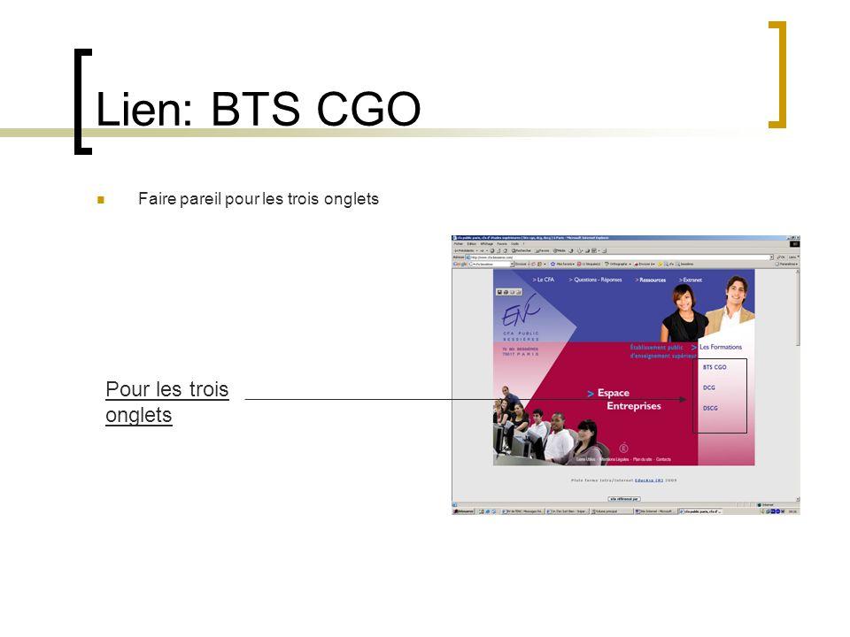 Lien: BTS CGO Faire pareil pour les trois onglets Pour les trois onglets