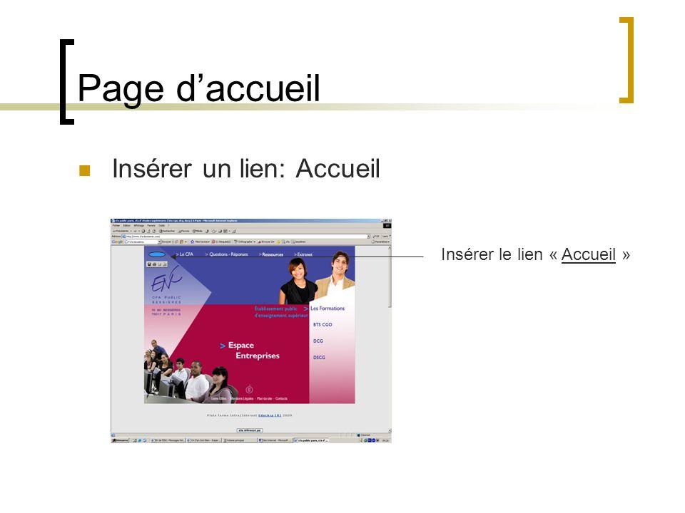 Page daccueil Insérer un lien: Accueil Insérer le lien « Accueil »