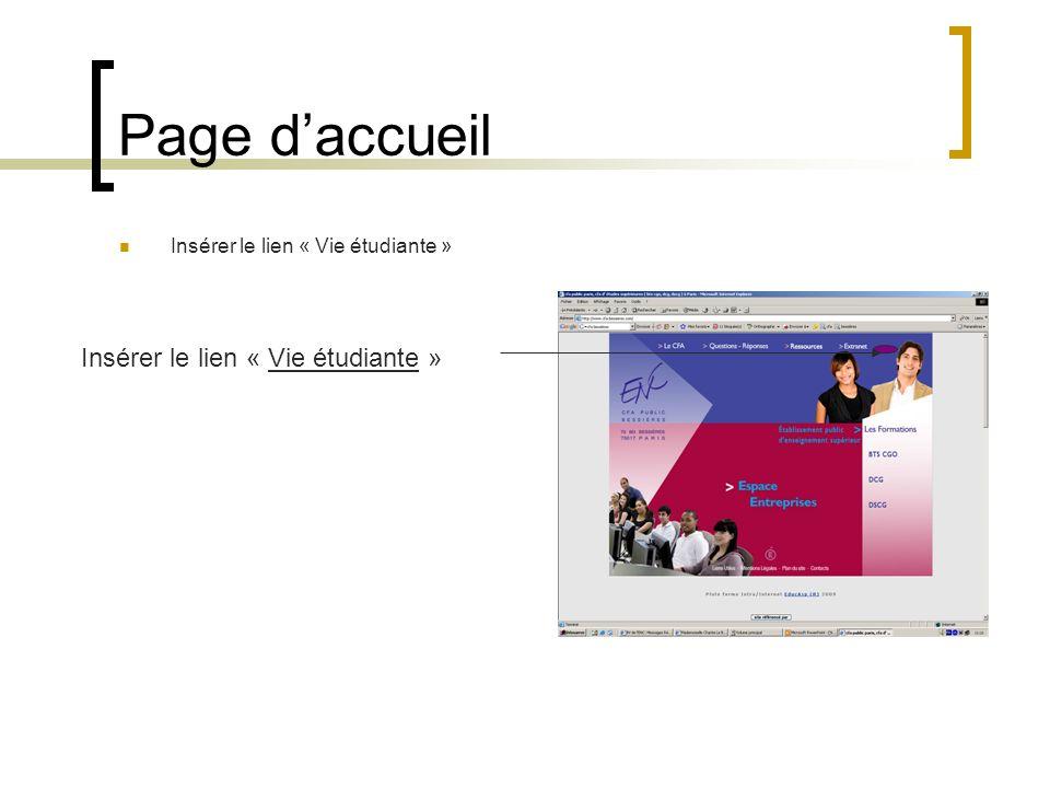Page daccueil Insérer le lien « Vie étudiante »