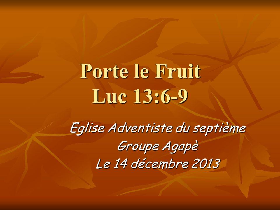 Porte le Fruit Luc 13:6-9 Eglise Adventiste du septième Groupe Agapè Le 14 décembre 2013