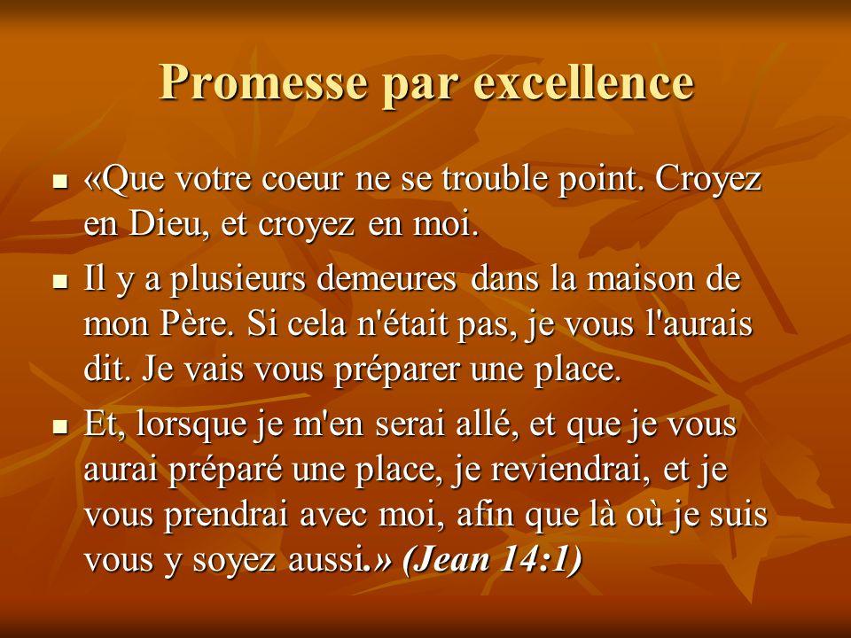 Promesse par excellence «Que votre coeur ne se trouble point. Croyez en Dieu, et croyez en moi. «Que votre coeur ne se trouble point. Croyez en Dieu,