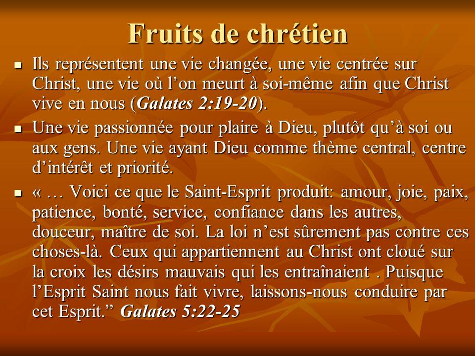 Fruits de chrétien Ils représentent une vie changée, une vie centrée sur Christ, une vie où lon meurt à soi-même afin que Christ vive en nous (Galates