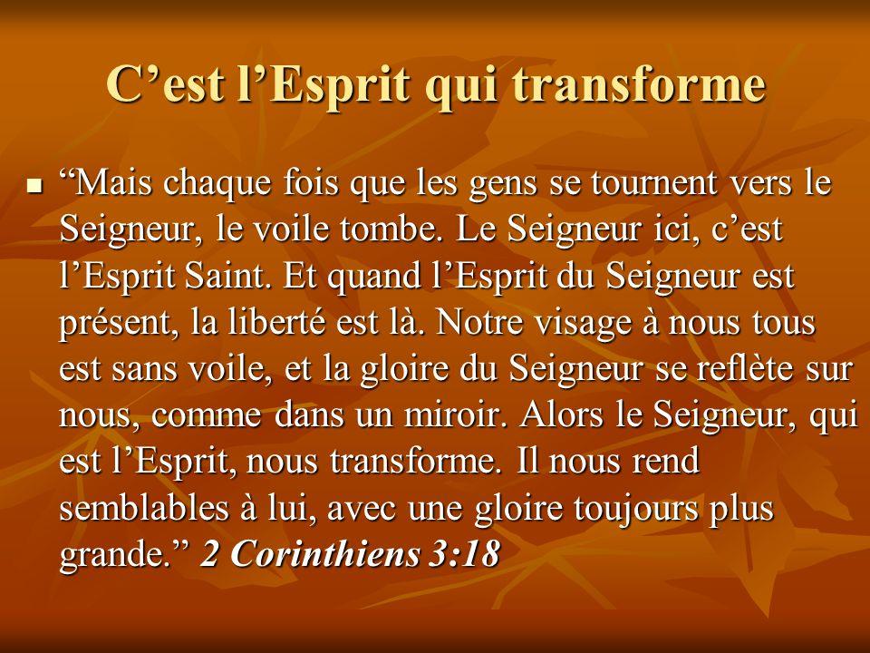 Cest lEsprit qui transforme Mais chaque fois que les gens se tournent vers le Seigneur, le voile tombe. Le Seigneur ici, cest lEsprit Saint. Et quand