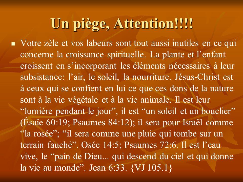 Un piège, Attention!!!! Votre zèle et vos labeurs sont tout aussi inutiles en ce qui concerne la croissance spirituelle. La plante et lenfant croissen
