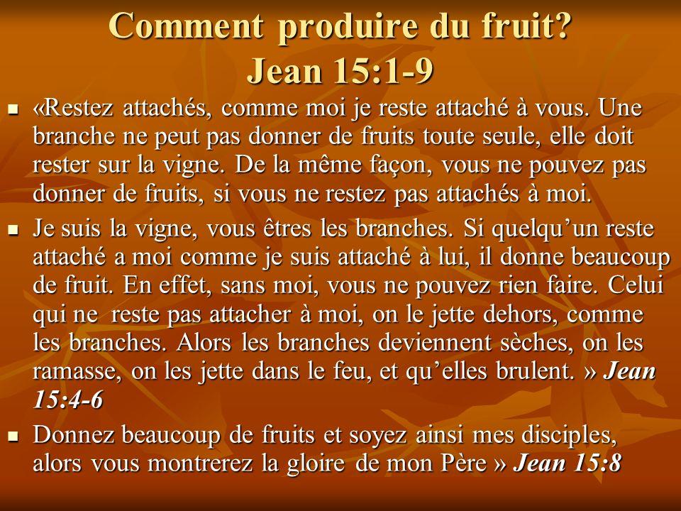 Comment produire du fruit? Jean 15:1-9 «Restez attachés, comme moi je reste attaché à vous. Une branche ne peut pas donner de fruits toute seule, elle