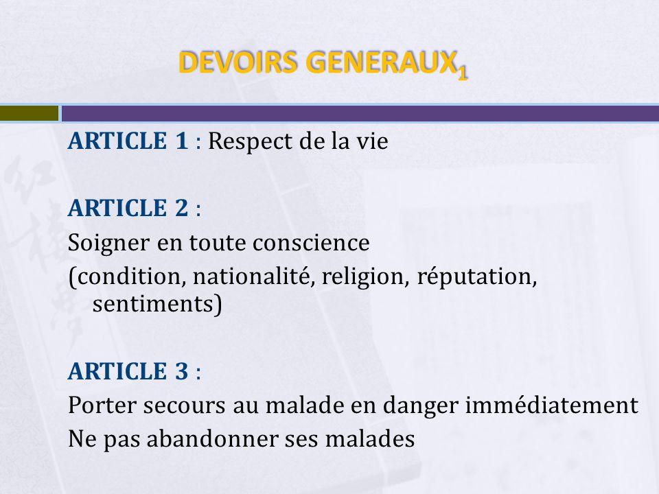 DEVOIRS GENERAUX 2 ARTICLE 4 : Secret Professionnel ARTICLE 5 : Relations entre Malade et Médecin : Liberté de choisir son Médecin Liberté de prescription pour le Médecin Règlement des honoraires par le Malade