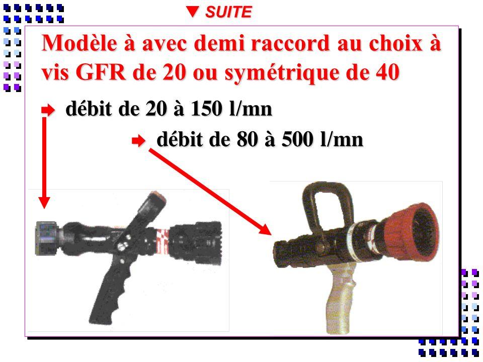 Modèle à avec demi raccord au choix à vis GFR de 20 ou symétrique de 40 débit de 20 à 150 l/mn débit de 20 à 150 l/mn débit de 80 à 500 l/mn débit de