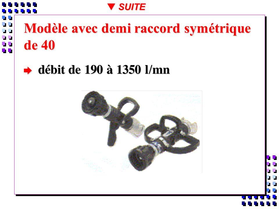 Modèle avec demi raccord symétrique de 40 débit de 190 à 1350 l/mn débit de 190 à 1350 l/mn t SUITE