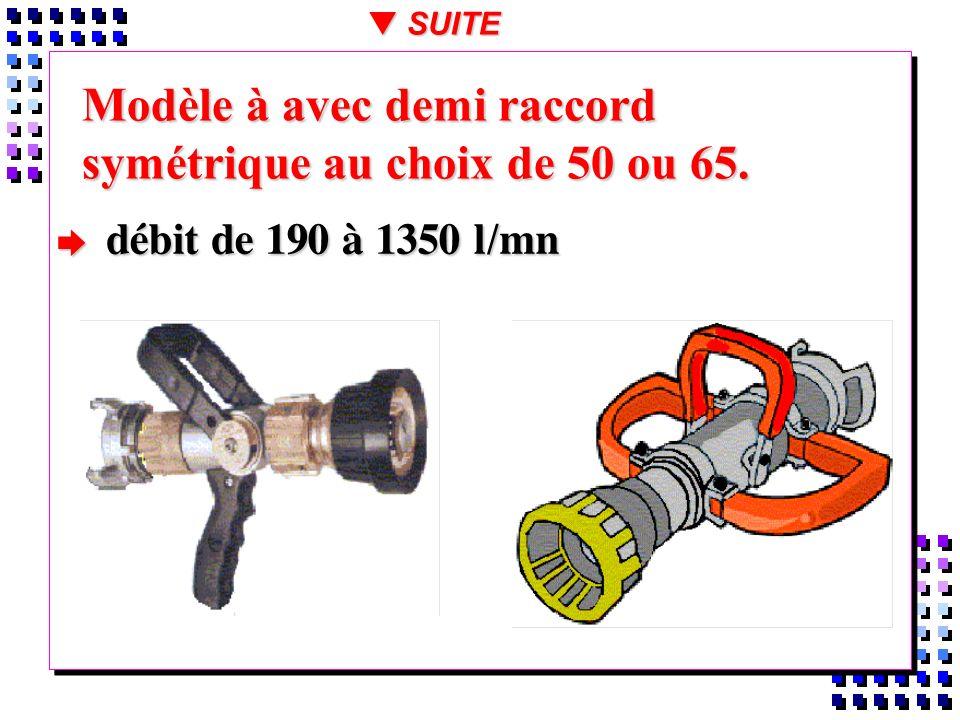 Modèle à avec demi raccord symétrique au choix de 50 ou 65. débit de 190 à 1350 l/mn débit de 190 à 1350 l/mn t SUITE