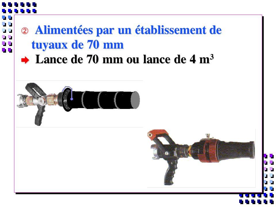 Alimentées par un établissement de tuyaux de 70 mm Alimentées par un établissement de tuyaux de 70 mm Lance de 70 mm ou lance de 4 m 3 Lance de 70 mm