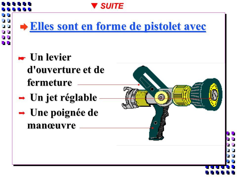 è PARTICULARITÉS Le jet réglable permet de manoeuvrer du jet plein au jet pulvérisée haute pression avec possibilité dutiliser à pression constante de 6 à 7 bars à la lance, un débit variable de 40 à 1000l/mn suivant les modèles, s adaptant ainsi à toutes les situations et évolutions d un incendie Le jet réglable permet de manoeuvrer du jet plein au jet pulvérisée haute pression avec possibilité dutiliser à pression constante de 6 à 7 bars à la lance, un débit variable de 40 à 1000l/mn suivant les modèles, s adaptant ainsi à toutes les situations et évolutions d un incendie t SUITE
