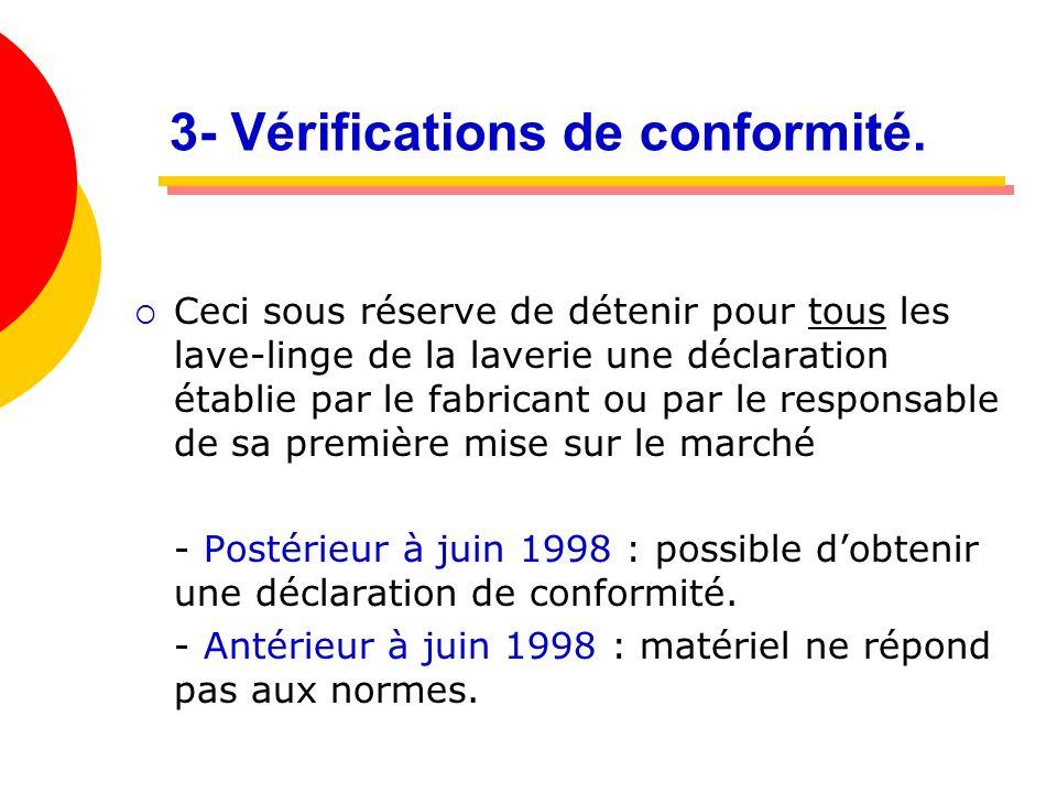 3- Vérifications de conformité. Ceci sous réserve de détenir pour tous les lave-linge de la laverie une déclaration établie par le fabricant ou par le