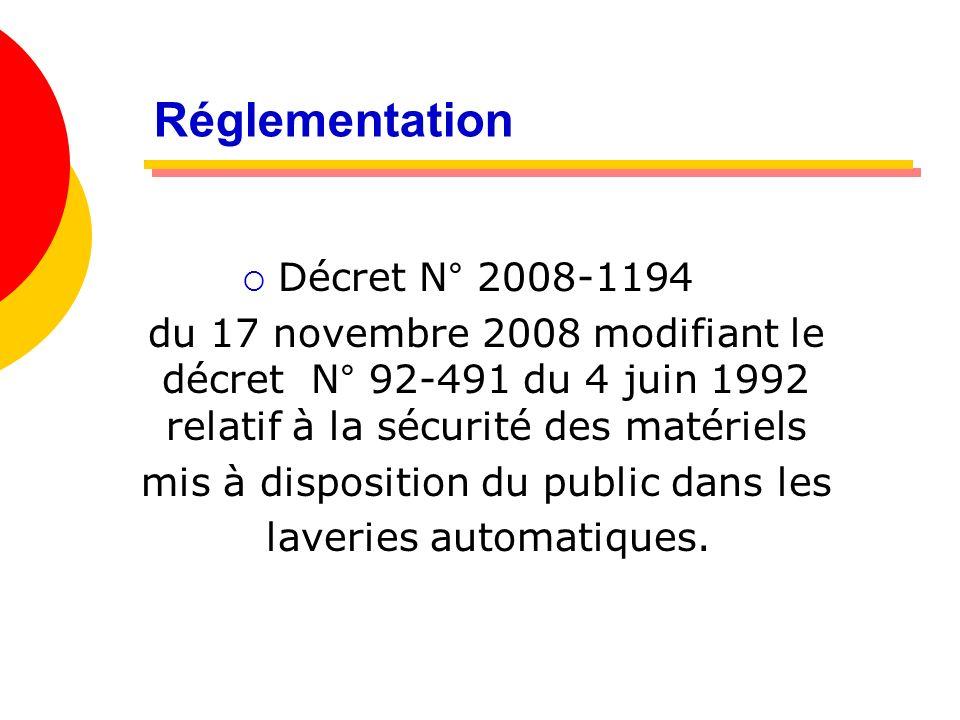 Réglementation Article 1: Tout exploitant mettant à la disposition des utilisateurs des essoreuses centrifuges et des machines à laver le linge : Quel sont les matériels non concernés .