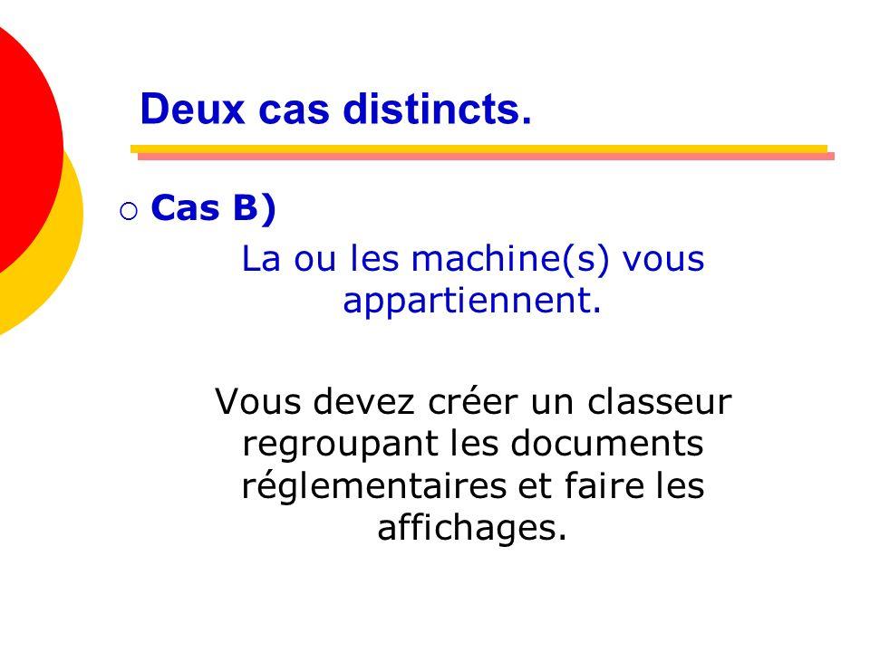 Deux cas distincts. Cas B) La ou les machine(s) vous appartiennent. Vous devez créer un classeur regroupant les documents réglementaires et faire les