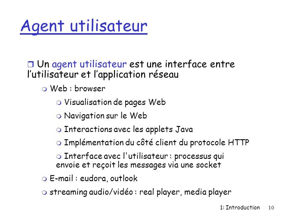1: Introduction10 Agent utilisateur r Un agent utilisateur est une interface entre lutilisateur et lapplication réseau m Web : browser m Visualisation