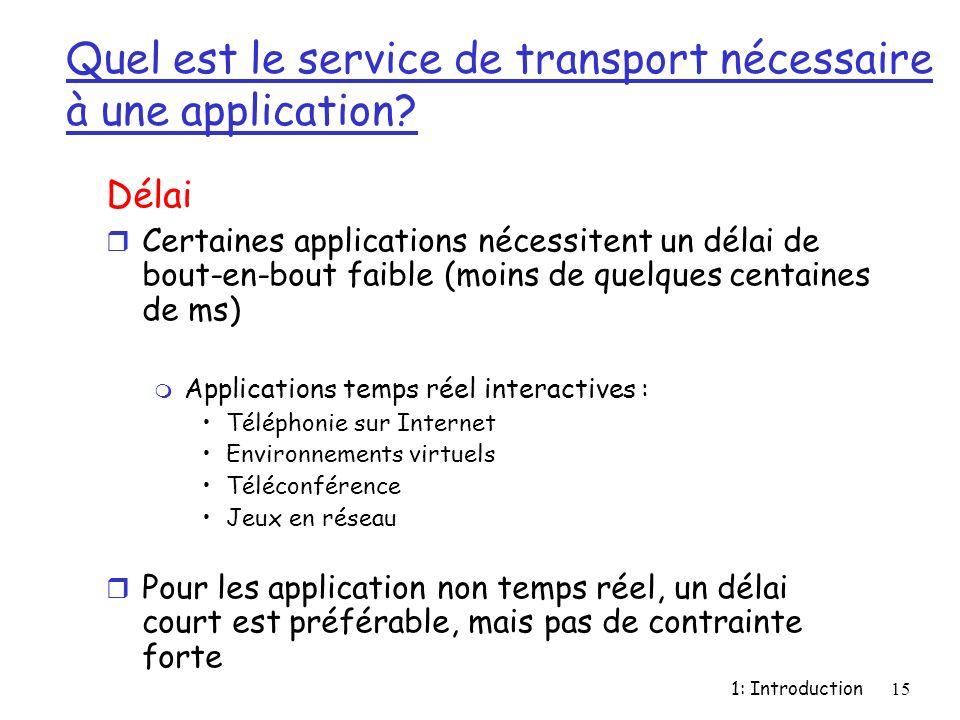 1: Introduction15 Quel est le service de transport nécessaire à une application? Délai r Certaines applications nécessitent un délai de bout-en-bout f