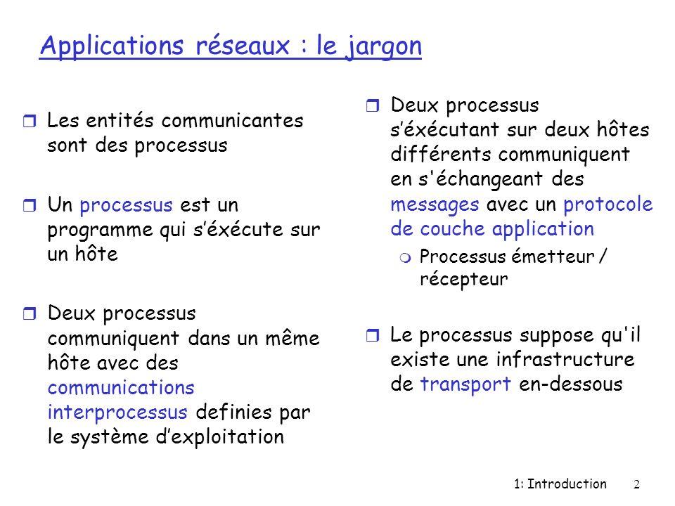 1: Introduction2 Applications réseaux : le jargon r Les entités communicantes sont des processus r Un processus est un programme qui séxécute sur un h
