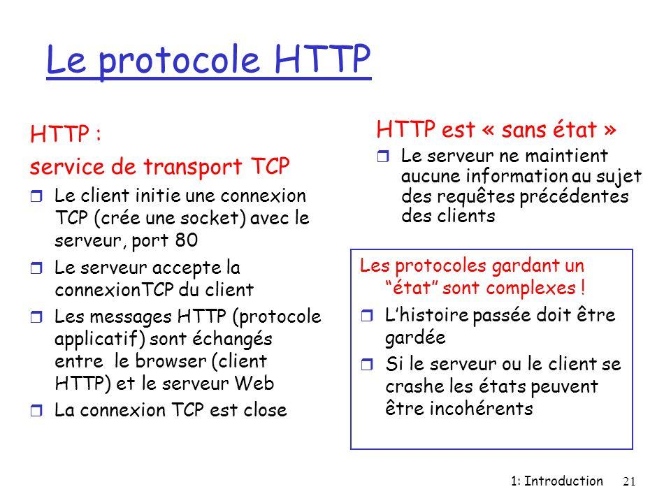 1: Introduction21 Le protocole HTTP HTTP : service de transport TCP r Le client initie une connexion TCP (crée une socket) avec le serveur, port 80 r