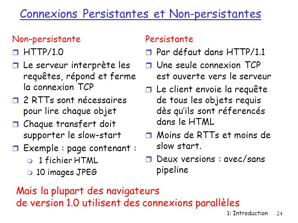 1: Introduction24 Connexions Persistantes et Non-persistantes Non-persistante r HTTP/1.0 r Le serveur interprète les requêtes, répond et ferme la conn