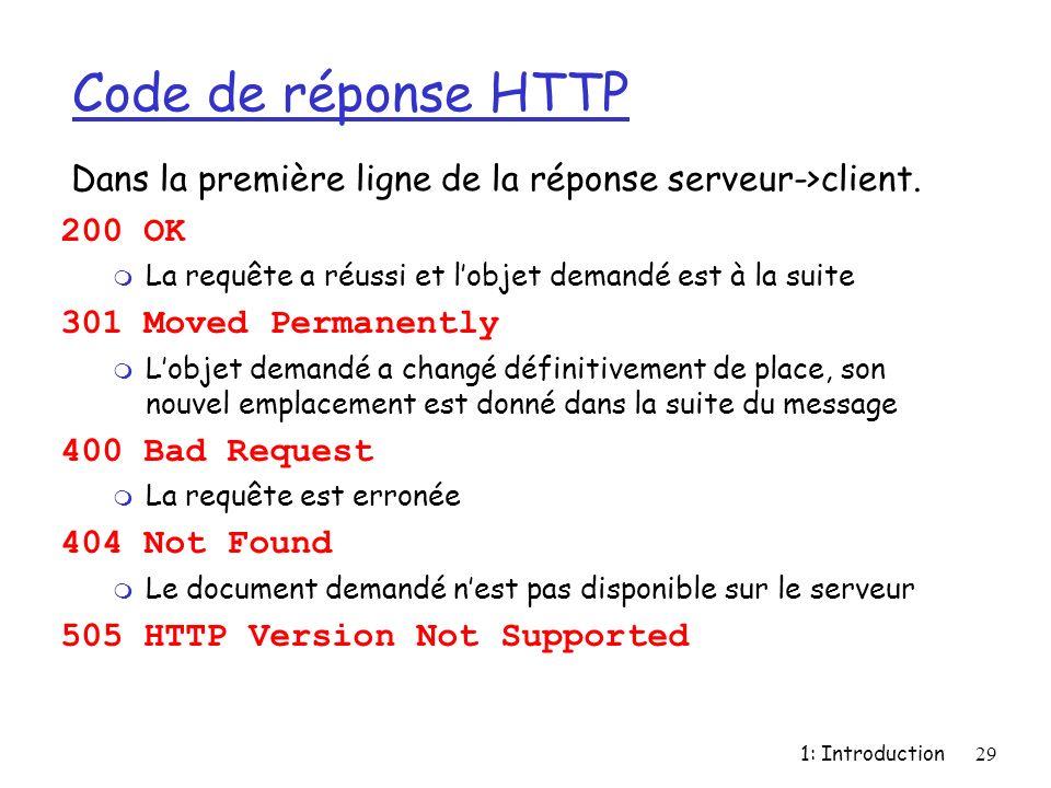 1: Introduction29 Code de réponse HTTP 200 OK m La requête a réussi et lobjet demandé est à la suite 301 Moved Permanently m Lobjet demandé a changé d