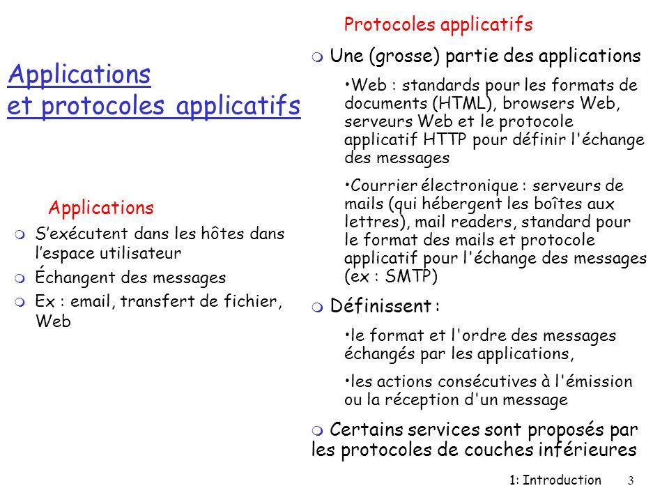 1: Introduction4 Protocole applicatif r Définit : m Le type des messages échangés : requête, réponse… m La syntaxe des différents types de messages : champs du message m La sémantique des champs, çàd la signification des informations qui y sont contenues m Les règles pour déterminer quand et comment un processus envoie des messages et y répond r Certains protocoles applicatifs sont spécifiés dans des RFCs : domaine public (ex HTTP) Beaucoup sont propriétaires (ex téléphonie IP) application transport network data link physical application transport network data link physical application transport network data link physical