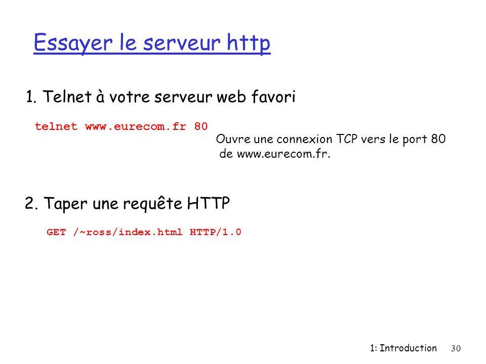 1: Introduction30 Essayer le serveur http 1. Telnet à votre serveur web favori Ouvre une connexion TCP vers le port 80 de www.eurecom.fr. telnet www.e